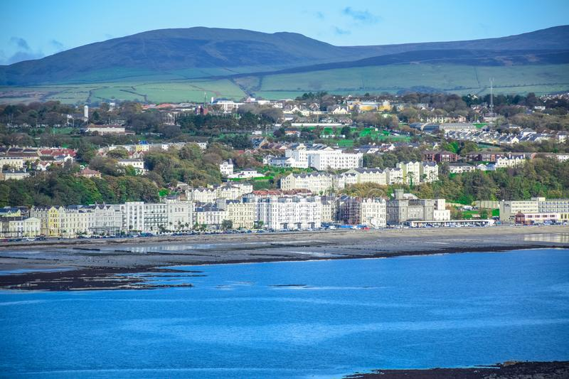 Beautiful landscape view of seaside town of Douglas in the Isle of Man. The capital and largest town of the Isle of Man stock photos