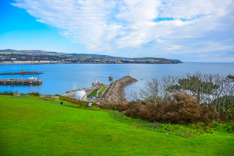 Beautiful landscape view of seaside town of Douglas in the Isle of Man. The capital and largest town of the Isle of Man stock images