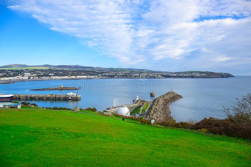 Beautiful landscape view of seaside town of Douglas in the Isle of Man. The capital and largest town of the Isle of Man royalty free stock photos