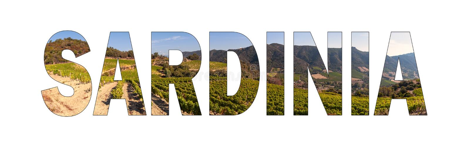 Written SARDINIA background with a hillside vineyard in Sardinia, Italy. royalty free stock images