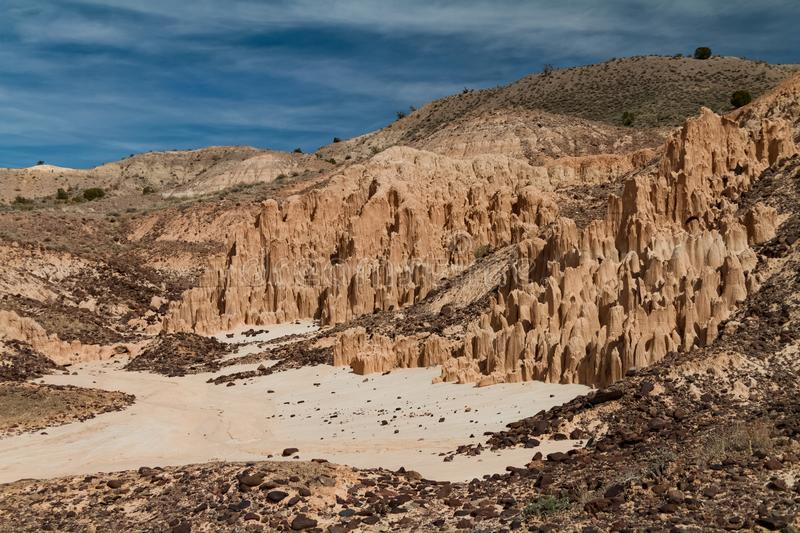 Beautiful landscape of the volcanic bentonite clay formations at Cathedral Gorge State Park in Nevada stock photos