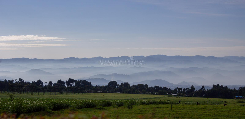 Landscape of Volcanoes National Park, Rwanda stock photography