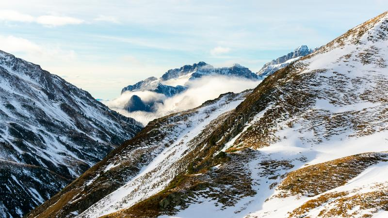 Beautiful landscape of winter snowy mountains in the Pyrenees. Wilderness, christmas, outdoor, adventure, hiking, hoarfrost, panorama, ice, ski, season royalty free stock images