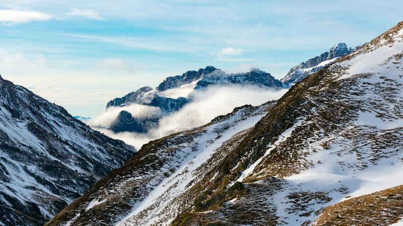 Beautiful landscape of winter snowy mountains in the Pyrenees. Wilderness, christmas, outdoor, adventure, hiking, hoarfrost, panorama, ice, ski, season royalty free stock photography