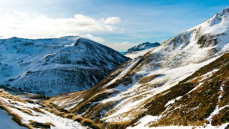 Beautiful landscape of winter snowy mountains in the Pyrenees. Wilderness, christmas, outdoor, adventure, hiking, hoarfrost, panorama, ice, ski, season stock image
