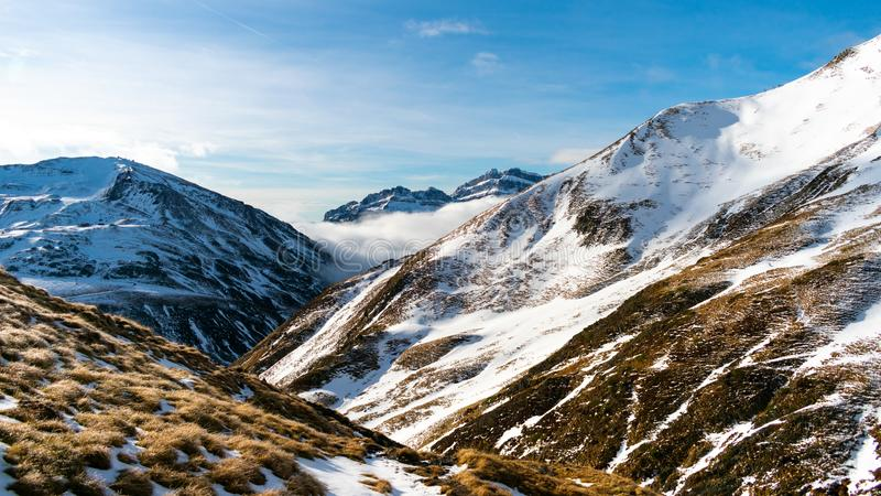 Beautiful landscape of winter snowy mountains in the Pyrenees. Wilderness, christmas, outdoor, adventure, hiking, hoarfrost, panorama, ice, ski, season stock photos