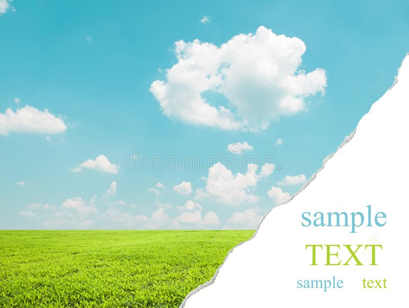 Beautiful landscape wit teared corner for your text space royalty free stock photos