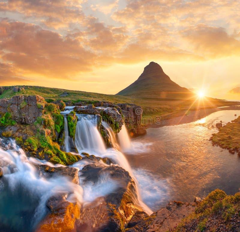 Free Beautiful Landscape With Sunrise On Kirkjufellsfoss Waterfall And Kirkjufell Mountain, Iceland. Stock Photography - 157469042