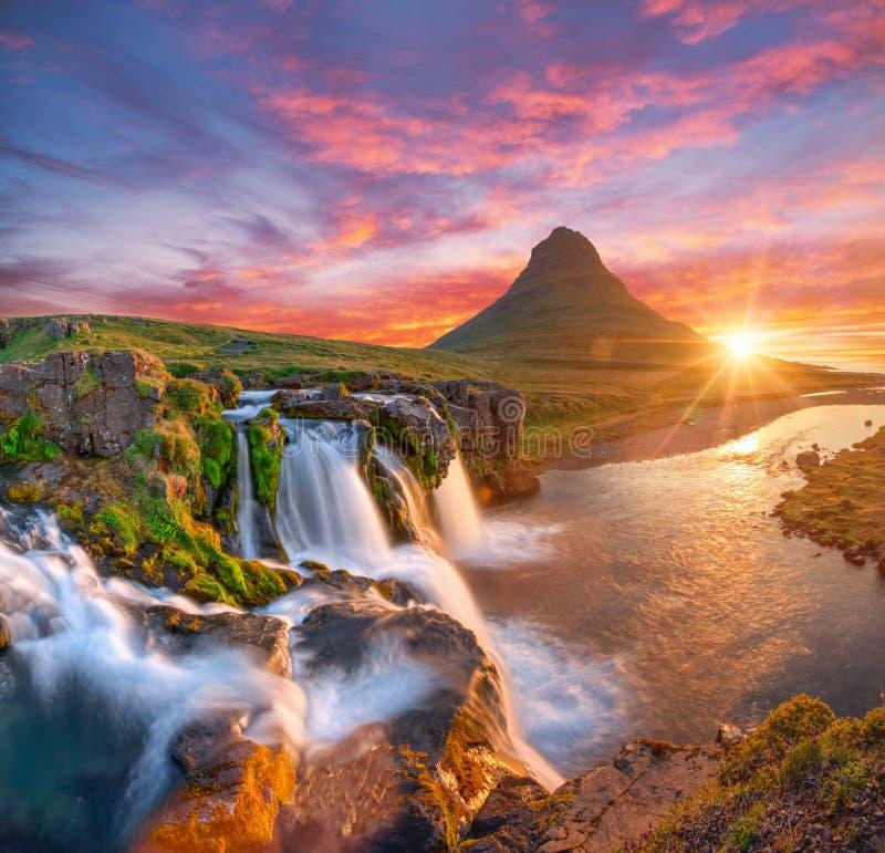 Free Beautiful Landscape With Sunrise On Kirkjufellsfoss Waterfall And Kirkjufell Mountain, Iceland. Stock Photo - 178762480