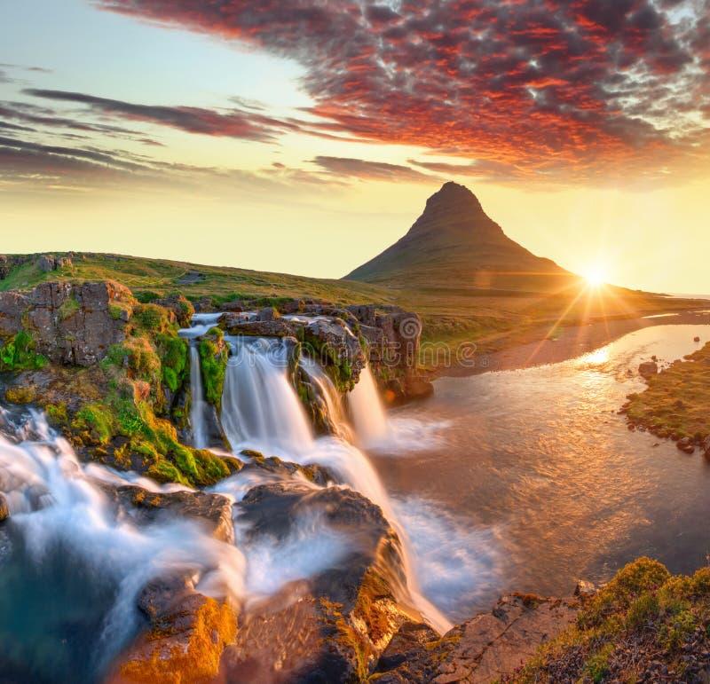 Free Beautiful Landscape With Sunrise On Kirkjufellsfoss Waterfall And Kirkjufell Mountain, Iceland. Royalty Free Stock Images - 190729739