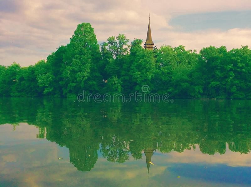 Herastrau lake landscape royalty free stock photos