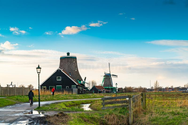 Beautiful landscape at Zaanse Schans Village with tradition dutch windmill after rain. Netherlands stock images