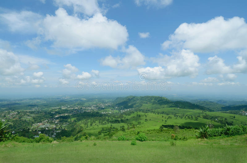 Beautiful lanscape of the sky and the hill. This picture taken from peak of the hill blue sky and beaty cloud beautify the view stock photography