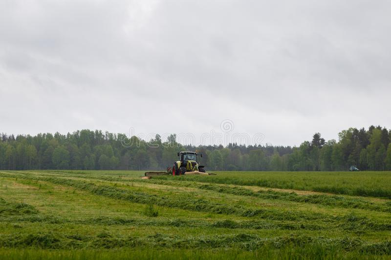 Beautiful lansdscape with haymaking is mowing the grass. On a green field royalty free stock images