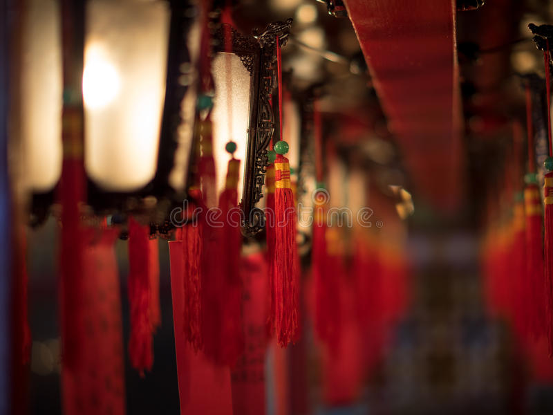 Beautiful lanterns in the Buddhist temple. Of Man Mo - 1 stock photo