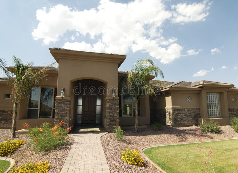 Beautiful large new home in Arizona royalty free stock photos