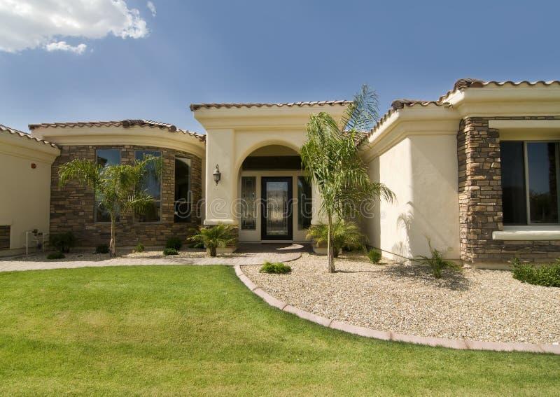 Beautiful large new home in Arizona stock photography