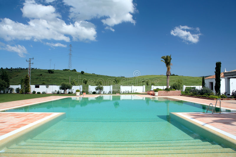 Beautiful large swimming pool of hotel in europe stock for Big blue piscine