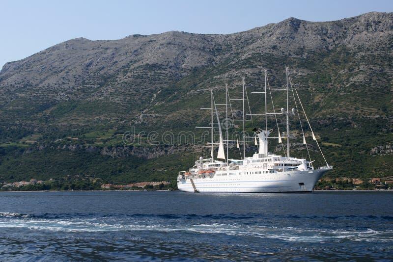 Beautiful larger white ship stock photo