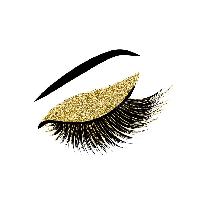 Lashes with glitter vector illustration. Beautiful lashes with glitter vector illustration