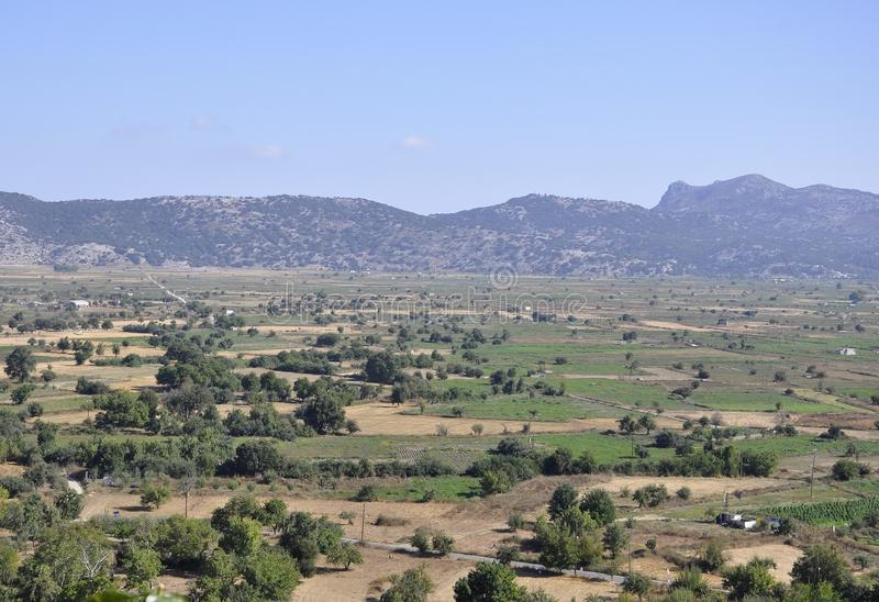 Lassithi Plateau landscape in Crete island of Greece. Beautiful Lassithi Plateau landscape in Crete island of Greece on august 2017 royalty free stock image