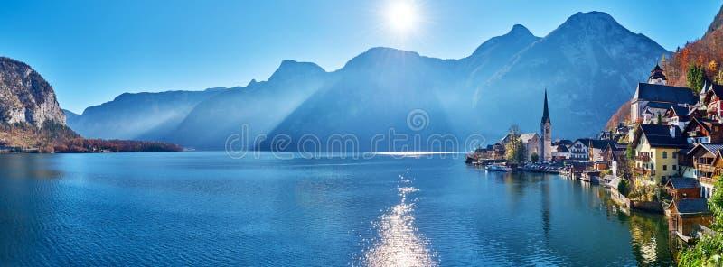 Beautiful late autumn landscape of Hallstatt mountain village with Hallstatter lake in Austrian Alps stock image