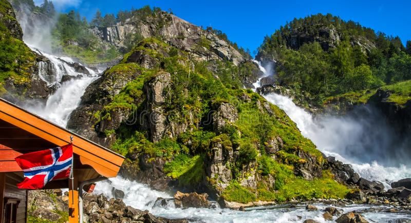 Beautiful Latefossen Latefoss - one of the biggest waterfalls in Norway, Scandinavia, Europe. Artistic picture. Beauty world.  stock images