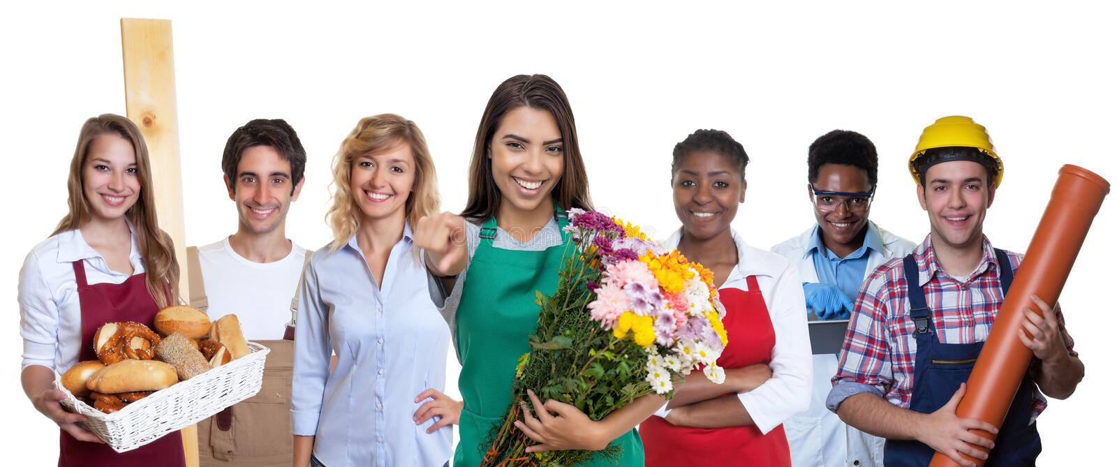 Beautiful latin american business trainee with group of international apprentices stock images