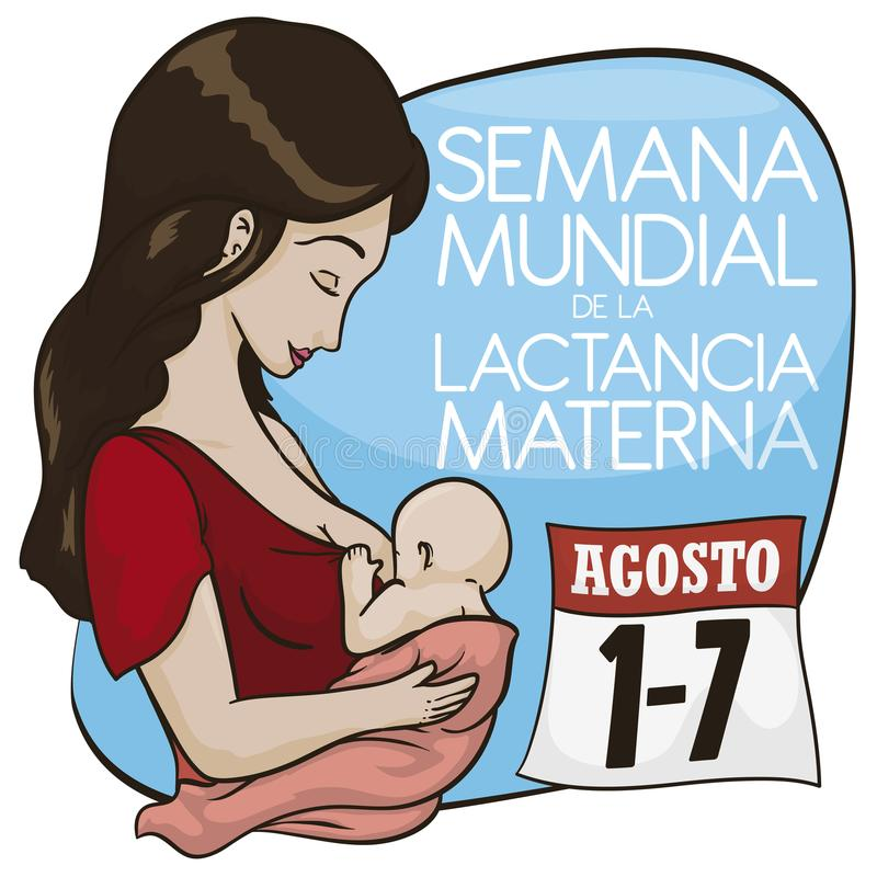 Latin Mom with Baby and Calendar Celebrating World Breastfeeding Week, Vector Illustration. Beautiful latin mother with baby promoting breastfeeding in August royalty free illustration