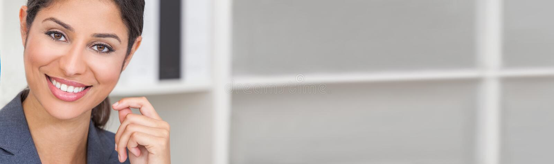 Beautiful Latina Hispanic Woman or Businesswoman Panorama Web Banner stock image