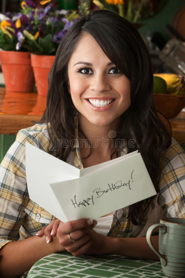Download Beautiful Latina Woman With Birthday Card Stock Photo - Image: 17034844