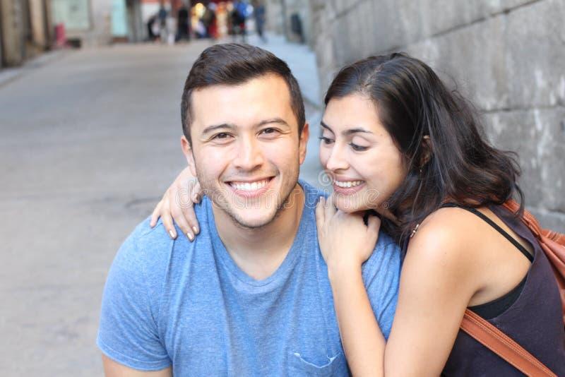 Beautiful latino couple smiling close up stock photos