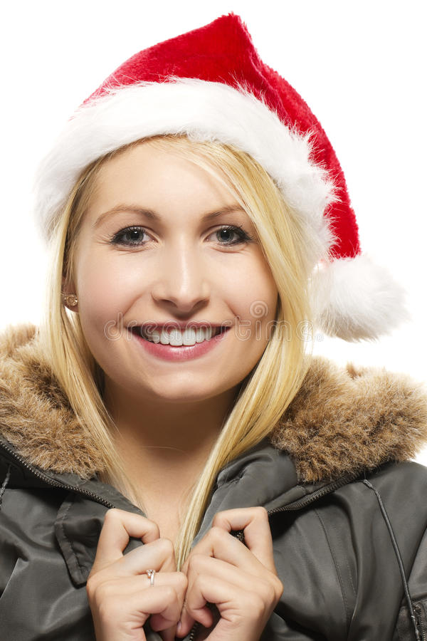 Beautiful laughing blonde woman in a parka wearing stock photos