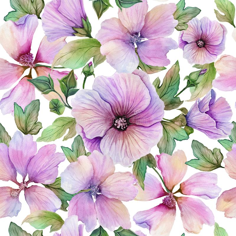 Beautiful lavatera flowers and leaves with veins against white background. Seamless floral pattern. Watercolor painting. vector illustration