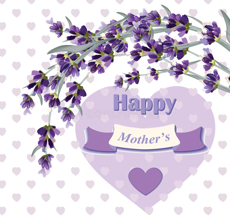 Download Beautiful Lavender Card For Mothers Day Vector Illustration Stock Vector - Image: 86657997