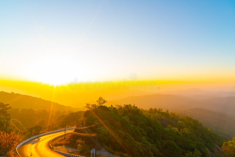 beautiful layer mountain with twilight sunrise sky royalty free stock images