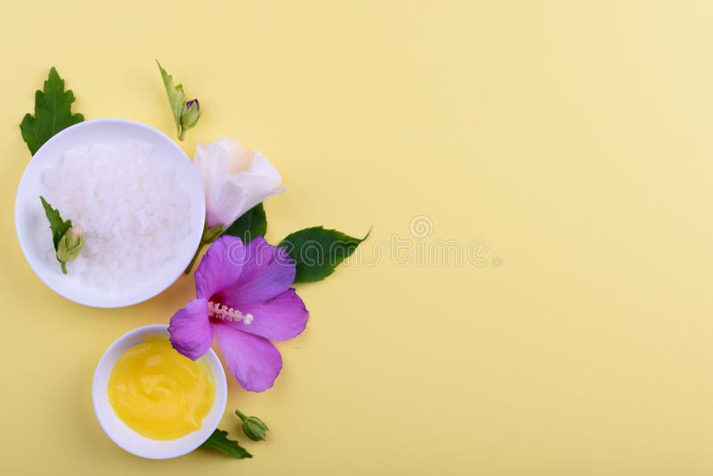 Beautiful layout of cosmetic products on yellow background. Natural cosmetic royalty free stock photography