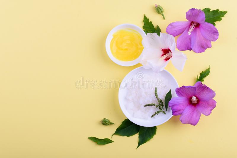 Beautiful layout of cosmetic products on yellow background. Natural cosmetic stock image