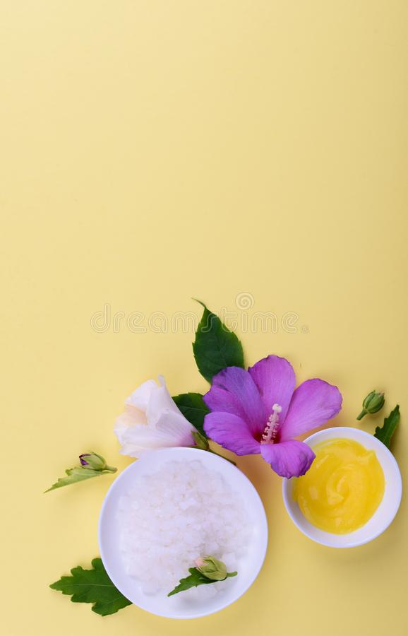 Beautiful layout of cosmetic products on yellow background. Natural cosmetic stock photos