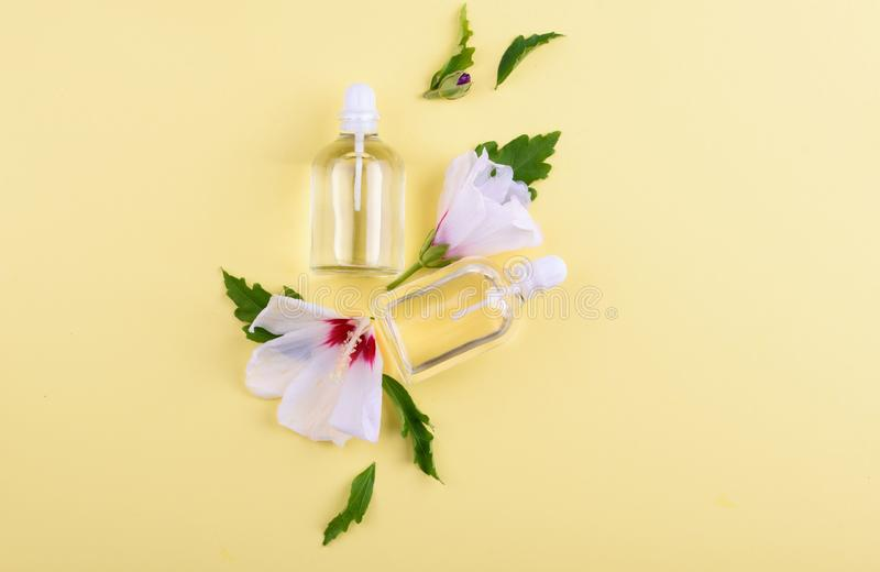 Beautiful layout of cosmetic products on a yellow background. Natural cosmetics for face and body royalty free stock image