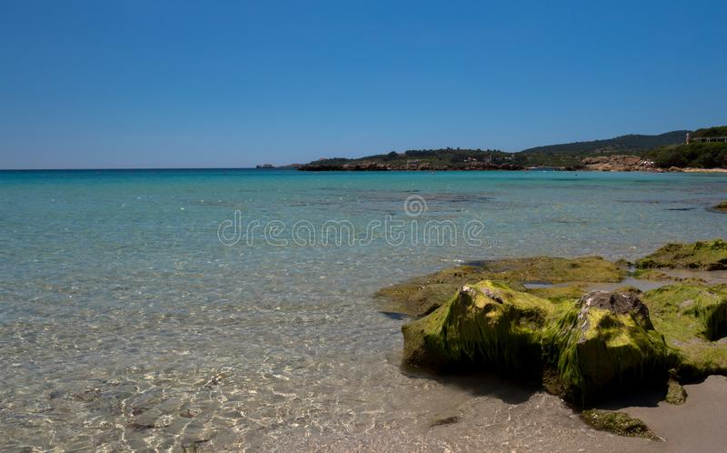 Beautiful Le Bombarde beach with crystal clear water royalty free stock photos
