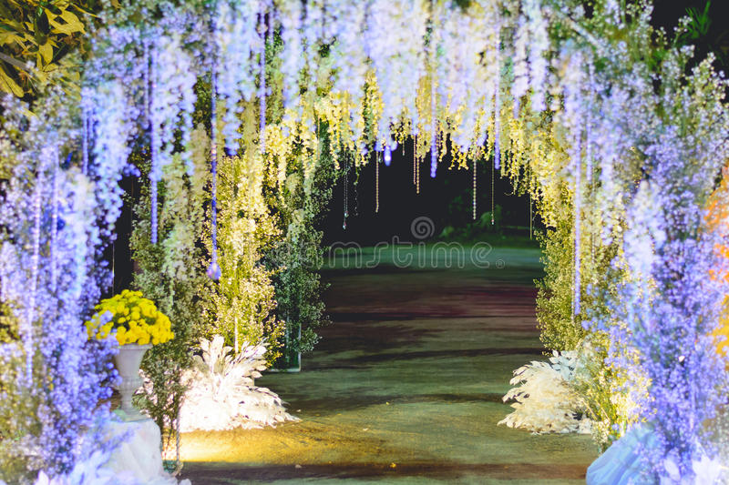 Beautiful LED lights and flowers archway royalty free stock photo