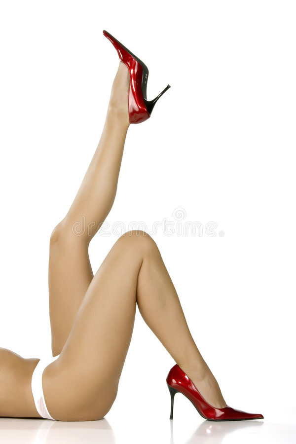 Beautiful Legs In Red Shoes Royalty Free Stock Images