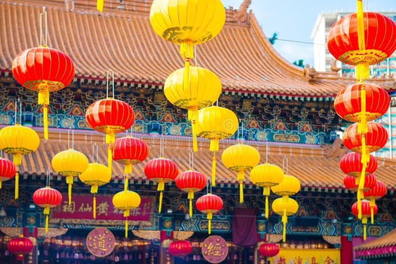 Beautiful lentern hang on Wong Tai Sin Temple for decorate place. Hong Kong stock photos