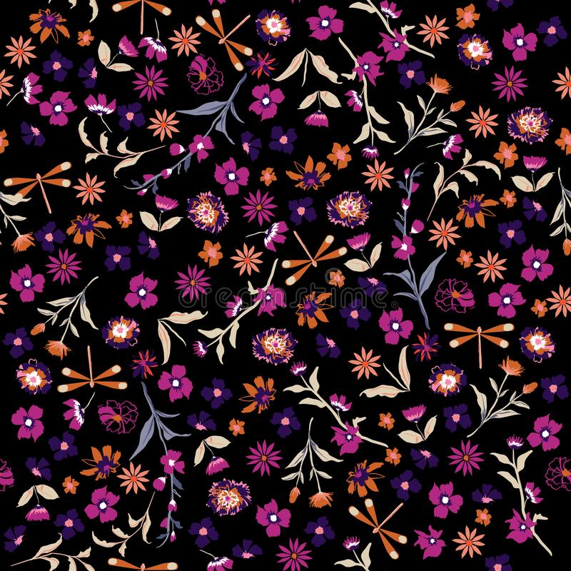 Beautiful liberty Seamless floral pattern. Background in small c. Olorful flowers for textiles, fabrics, cotton fabric, covers, wallpaper, print, gift wrapping vector illustration
