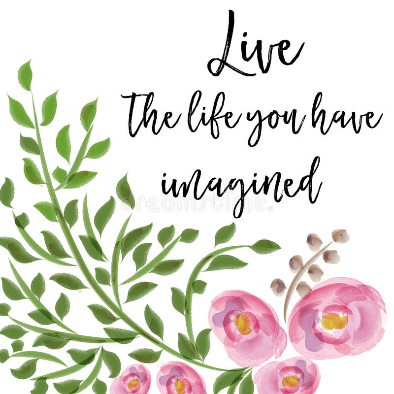 Download Beautiful Life Quote With Floral Watercolor Background Stock Illustration