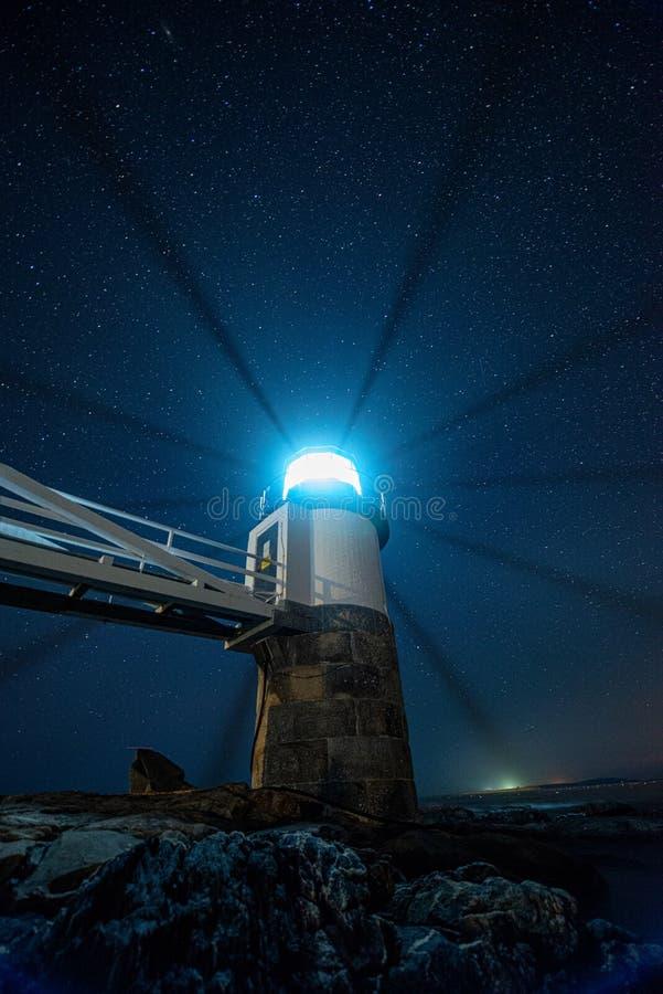 Light beams marshal point lighthouse stock image