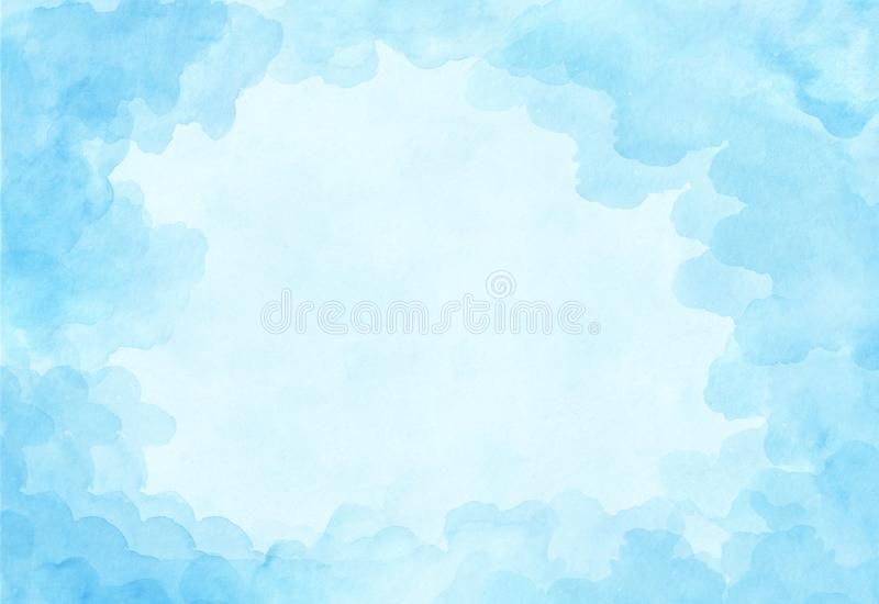 Beautiful light blue watercolor background. Sky with weightless clouds canvas for congratulations, valentines designs, invitation royalty free stock images