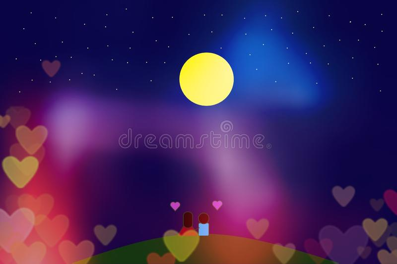 Beautiful light bokeh along the nigth with Full moon stock images
