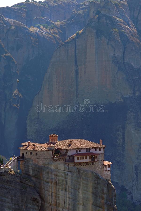 Beautiful light effect at dawn on the rock formations and monasteries of Meteora stock photos